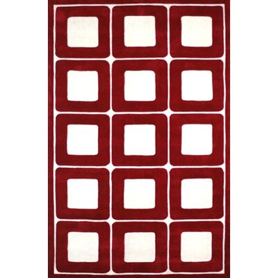 Modern Living Deco Blocks Red/White Rug Rug Size: 36 x 56