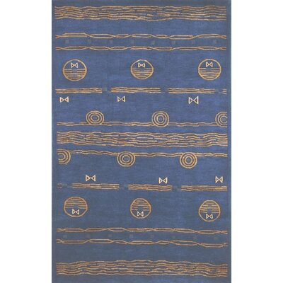 Neo Nepal Ocean Vibes Royal Blue Area Rug Rug Size: 36 x 56