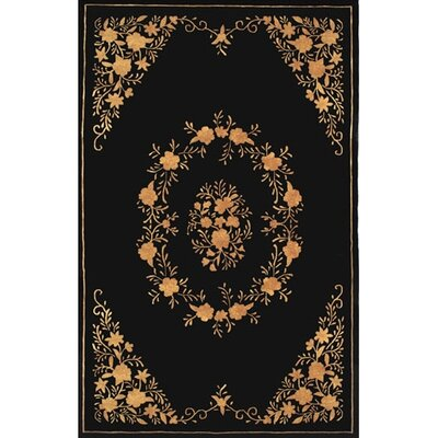 Neo Nepa Aubusson Flowers Black Area Rug Rug Size: Rectangle 36 x 56