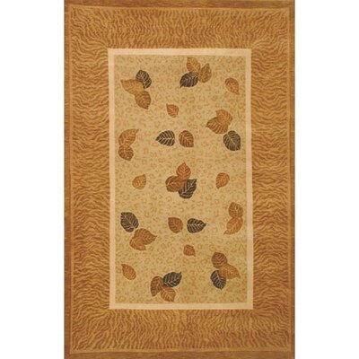 Neo Nepal Pale Golden Leaves Pale Sage Area Rug Rug Size: 36 x 56