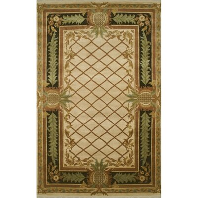 Palm Beach Beige Pineapple Aubusson Area Rug Rug Size: Runner 26 x 12