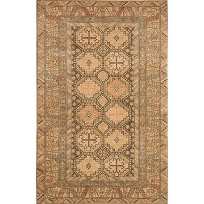 Village Brown/Peach Kazak Area Rug Rug Size: 36 x 56