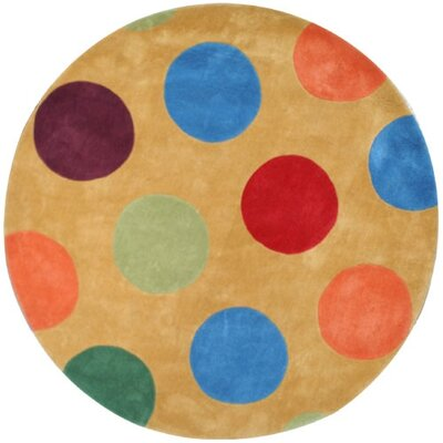 Bright Yellow Dots Area Rug Rug Size: Round 5