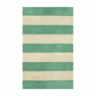 Beach Teal/Ivory Boardwalk Stripes Area Rug Rug Size: Runner 26 x 12