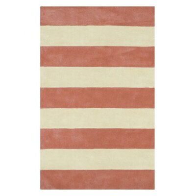 Beach Rug Light Coral/ivory Boardwalk Stripes Rug Rug Size: Runner 2