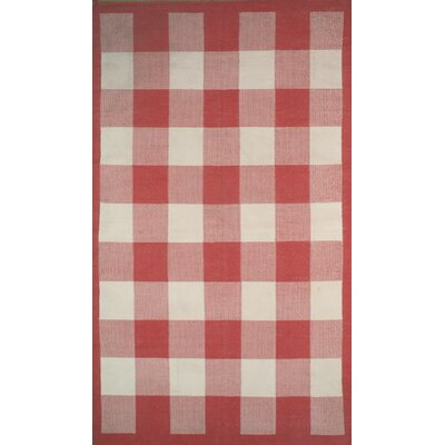 Cottage Kilim Berry Red Elegant Check Rug Rug Size: Rectangle 36 x 56