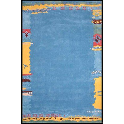 Beach Ocean Shores Novelty Hand Tufted Light Blue Area Rug Rug Size: 36 x 56