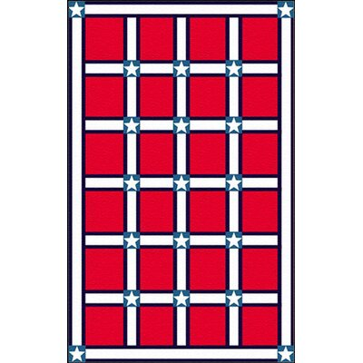 Bright Red/White Stars and Stripes Area Rug Rug Size: 8 x 11