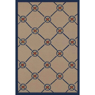 Beach Rug Ivory/Blue Compass Novelty Rug Rug Size: 5 x 8