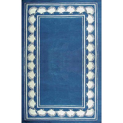 Beach Shell Border Novelty Hand Tufted Blue Area Rug Rug Size: Rectangle 36 x 56