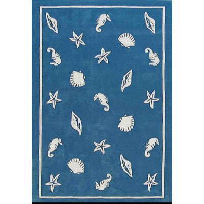 Beach Rug Blue Shells and Seahorses Novelty Rug Rug Size: 8 x 11