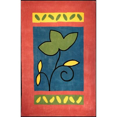 Bright Rose/Blue A Single Flower Area Rug Rug Size: 5 x 8