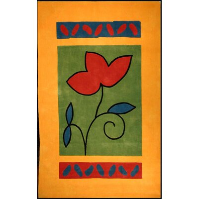 Bright Yellow/Green A Single Flower Area Rug Rug Size: 5 x 8