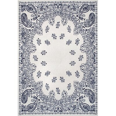 Silver/Blue Area Rug Rug Size: 710 x 96