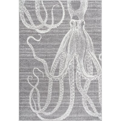 Gray/White Area Rug Rug Size: 76 x 96