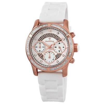 Women's Venus Rose Gold Diamonds Bezel Watch in White