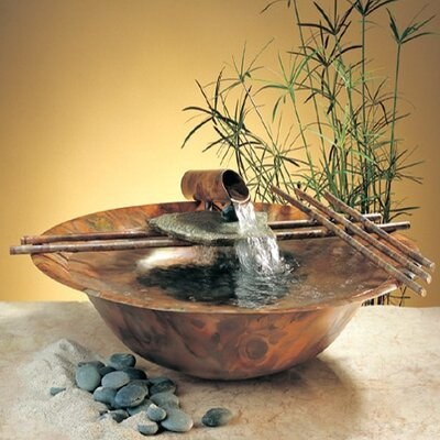 """Nayer Kazemi Copper Nature Bowl Medium Tabletop Fountain - Fogger: Small, Metal Stands: 34"""" Round Leg, Metal Stand: No Stand at Sears.com"""