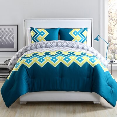 Katya Comforter Set Size: Full, Color: Teal