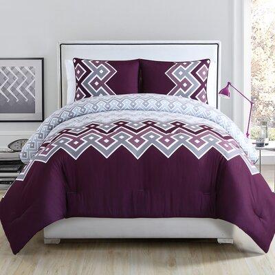 Katya Comforter Set Size: Full, Color: Plum