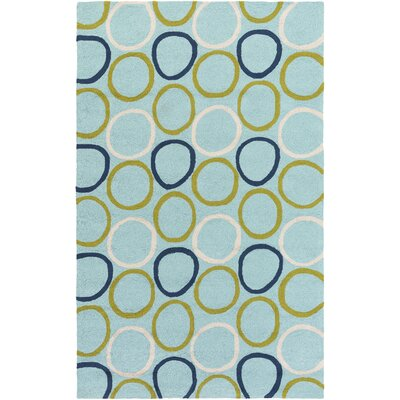 Madison Aqua/Navy Indoor/Outdoor Area Rug Rug Size: 2 x 3