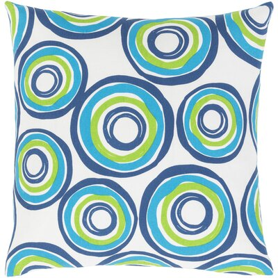 Rowes Cotton Throw Pillow Size: 18 H x 18 W x 4 D, Color: Bright Blue/Grass Green/Dark Blue/White