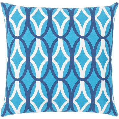 Rowes Cotton Throw Pillow Size: 22 H x 22 W x 5 D, Color: Bright Blue/Dark Blue/White