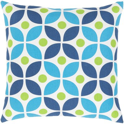Rowes Cotton Throw Pillow Size: 22 H x 22 W x 5 D, Color: Bright Blue/Grass Green/Dark Blue/White