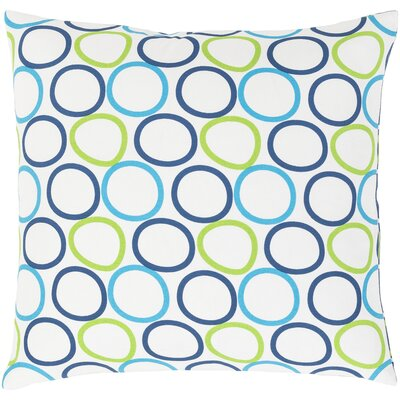 Rowes Cotton Throw Pillow Size: 18 H x 18 W x 4 D, Color: Bright Blue/Dark Blue/White