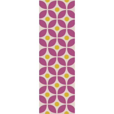 Miranda Magenta/Gold Indoor/Outdoor Area Rug Rug Size: Runner 26 x 8