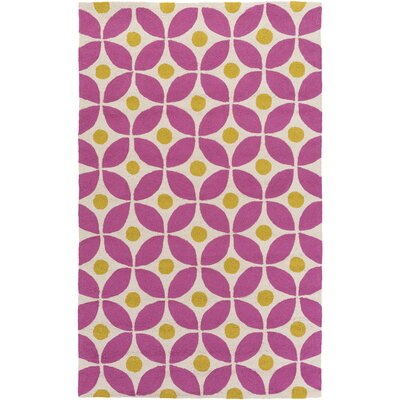 Miranda Magenta/Gold Indoor/Outdoor Area Rug Rug Size: Rectangle 4 x 6