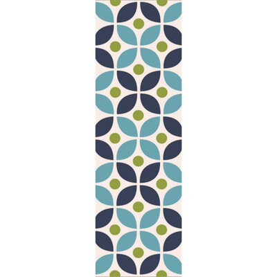 Miranda Navy/Aqua Indoor/Outdoor Area Rug Rug Size: Runner 26 x 8