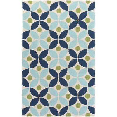 Miranda Navy/Aqua Indoor/Outdoor Area Rug Rug Size: Rectangle 5 x 76