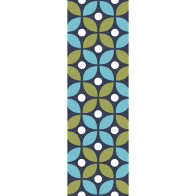 Miranda Green/Aqua Indoor/Outdoor Area Rug Rug Size: Runner 26 x 8