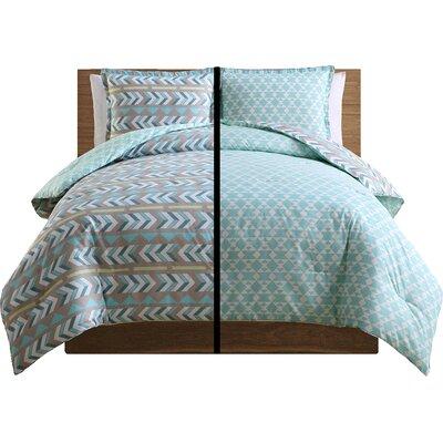 3 Piece Comforter Set Color: Aqua, Size: King