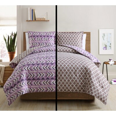 3 Piece Comforter Set Color: Violet, Size: King