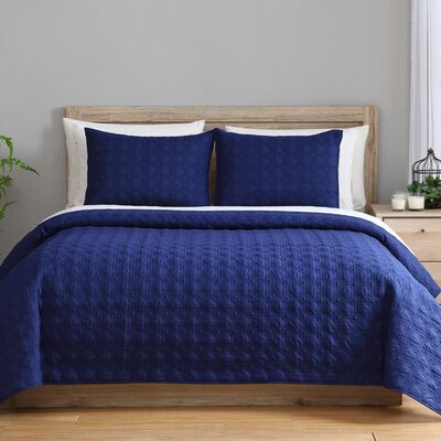3 Piece Reversible Coverlet Set Color: Frost, Size: Full/Queen