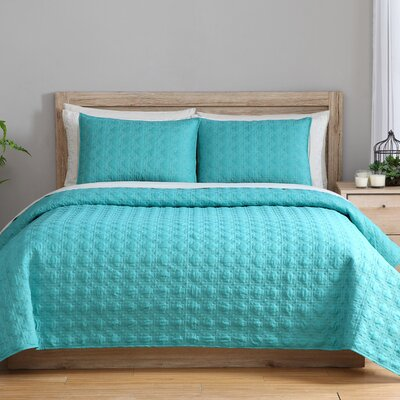3 Piece Reversible Coverlet Set Color: Lagoon, Size: Full/Queen