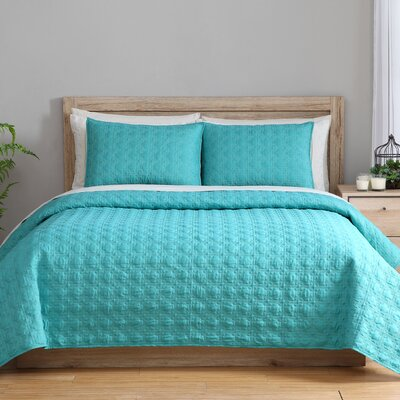 3 Piece Twin Reversible Coverlet Set Color: Lagoon
