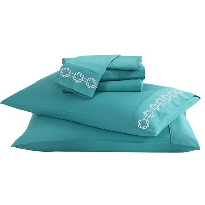 6 Piece Solid 200 Thread Count 100% Cotton Sheet Set Color: Lagoon, Size: King