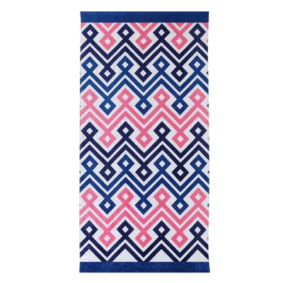 Diamond Chevron 100% Cotton Beach Towel Color: Navy/Pink