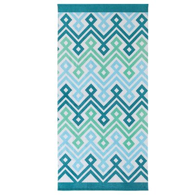 Diamond Chevron Beach Towel Color: Blue