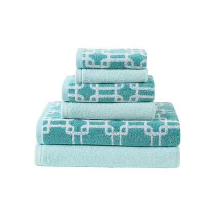 Links Printed 6 Piece Towel Set Color: Lagoon/Blue Mist