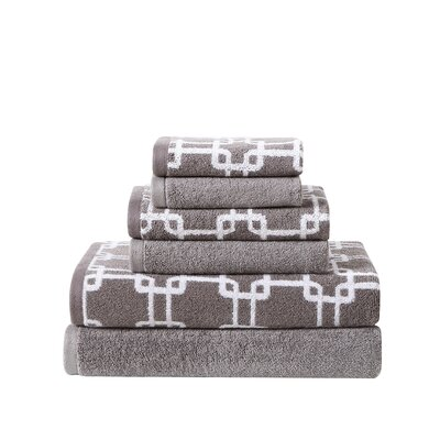 Links Printed 6 Piece Towel Set Color: Frost/Steel Gray