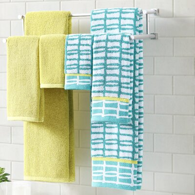 6 Piece Towel Set Color: Lagoon/Bamboo