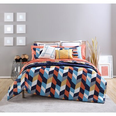 Geometric Reversible Comforter Set Size: King