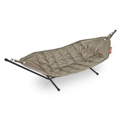 Headdemock Deluxe Polyester Hammock with Stand Color: Taupe