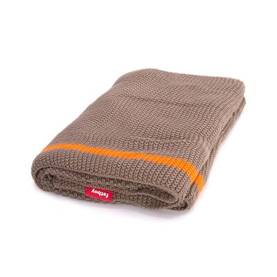 Klaid Cotton Throw Blanket Color: Taupe / Neon Orange Stripe