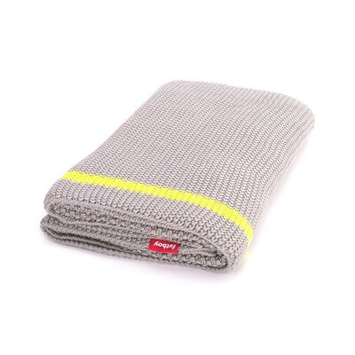 Klaid Cotton Throw Blanket Color: Light Grey / Neon Yellow Stripe