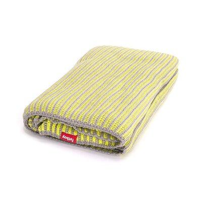 Klaid Cotton Throw Blanket Color: Light Grey / Neon Yellow