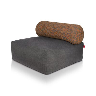 Tsjonge Jong Chaise Lounge Upholstery: Dark Gray / Circles Orange